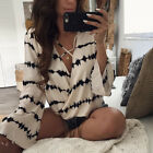 US Fashion Women Ladies Long Sleeve Loose Blouse Summer V Neck Casual Shirt Tops