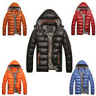 1PC Men Warm Jacket Down Casual Parka Padded Coat Outwear Detachable Hat M-3XL