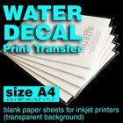 A4 Inkjet Water Slide Decal Paper Craft Transfer, DIY projects,print transfer