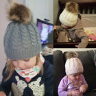 Infant Girl Boys Toddler Warm Knitted Beanie Fur Pom Hat Crochet Ski Cap Winter