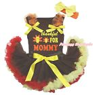 Thankful For Mommy Brown Cotton Top Brown Red Yellow Baby Skirt Outfit 3-12M