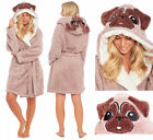 PUG Dog Dressing Gown Ladies Womens Fleece Hooded Snuggle Shaggy Novelty Robe