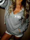Women  V-Neck Gray Loose Long Sleeve Hoodie Pullover Blouse Casual Cotton Top