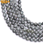 "Round Natural Gray Bre Jasper Gemstone Beads Jewelry Making Strand 15"" In Lots"