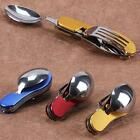 3 in 1 Folding Stainless Spoon Fork Knife Tableware Multi Tool for Camping LD