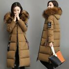 Winter Womens Snow Faux Fur Collar Hooded Long Coats Padded Overcaost Plus Size