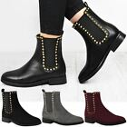 Womens Flat Black Chelsea Ankle Boots Work Formal Gold Studs Slip On Size New