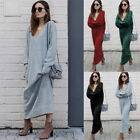 Women Winter Knitted Dress Loose V Neck Knit Long Sleeve Solid Casual Maxi Dress