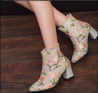 Womens Embroidered Flower Pattern Casual Pointy Toe Ankle Boots High Heel Shoes