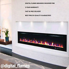 60 INCH LED FLAMES WHITE / BLACK GLASS WALL MOUNTED ELECTRIC FIRE FIREPLACE 2018