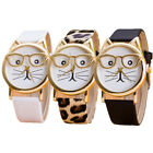 Fashion Women Ladies Cute Cat Face Leopord Leather Band Wrist Watch