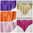 "72x72"" Square SATIN Table Overlays Wedding Party Linens for 6 feet tables"