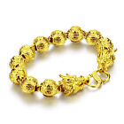 Fashionable man dragon bracelet real 24 k gold plated thick bracelet men jewelry