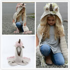 Xmas Kids Unicorn Hooded Scarf Hat Knitted Braided Skiing Scarves Snood Wraps