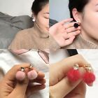 1Pair Elegant Women Long Hair Plush Ball Dangle Rhinestone Ear Stud Earrings New