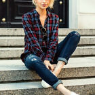 Women Long Sleeve Plaid Casual Shirt Loose Blouse Fashion Tops Shirt S-L 2017 LW