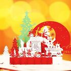 3D Pop Up Holiday Cards Sleigh Deer Christmas Gift Christmas Tree Candle