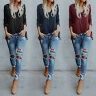 3 Colors Casual Fashion Women V Neck Buttons Solid Loose Blouse Tops T-Shirt