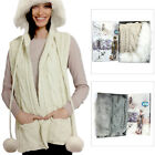 Something Special Womens Vintage Faux Fur Hooded Pom Pom Scarf Winter Accessory
