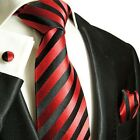 Silk Necktie Set by Paul Malone . Red and Black Stripes