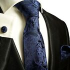Navy Blue Paisley Paul Malone Silk Tie, Pocket Square and Cufflinks
