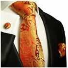 Red and Gold Paisley Silk Tie, Pocket Square and Cufflinks by Paul Malone