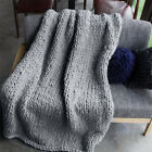 Large Soft Warm Handmade Chunky Knit Blanket Thick Yarn Wool Bulky Knitted Throw