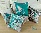 "Square Pillows Shell Throw Cushion Cover Teal Black Shadow Bird Tree 18""X18"""