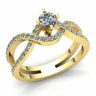 Real 1carat Round Cut Diamond Ladies Infinity Solitaire Engagement Ring 18K Gold