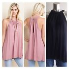 143 Story Womens High Neck Top Button Open w/Keyhole Back 2 Colors Size S-L New