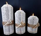 Choice of Colour Set of 3 Key Design Candles and Battery Tea Lights Book Art