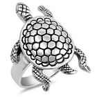 Oxidized Hawaiian Sea Turtle Swimming Ring .925 Sterling Silver Band Sizes 5-10