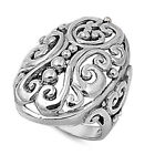 Antiqued Victorian Style Filigree Swirl Ring 925 Sterling Silver Band Sizes 5-10
