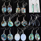 Free shipping New Zealand Abalone Shell Beads Dangle Earrings Pair SBR044