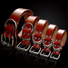 Heavy Duty Thick Real Leather Plain Pet Dog Collars for Small Large Dogs XS-XXL