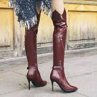 NEW Women's Leather Tall Boots stilettos High Heels over Knee Length Boots Size