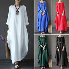 Women Oversized Solid Cotton &Linen Crew Neck Loose Casual Baggy Long Maxi Dress