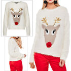 Heart And Soul Womens 3D Sequin Reindeer Xmas Jumper Festive Eyelash Knit Top