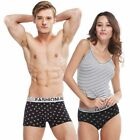 New Bamboo Fiber Couple Printing Underwear Slim Fit Boxers Briefs Lover