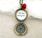 Will You Marry Me Filigree Locket Necklace with Red Heart Bead (Engagement love)