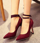 Womens Pointed Toe Mary Janes Ankle Strap High Stiletto New Heels Pumps Shoes