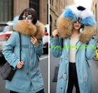 Fashion100% Raccoon fur collar hooded Luxury Mink fur lining overcoats warm coat