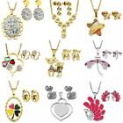 Fashion Women Wedding Party Jewelry Set Stainless Steel Earrings Necklace Gift