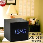 Modern Wooden Cube Digital LED Alarm Clock Voice Control Thermometer Timer Date