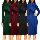 Womens Lady Cocktail Party Evening Long Sleeves Casual Turtleneck Big Bow Dress