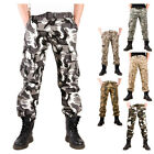 Mens Camouflage Pockets Urban Army Fatigue Camo Combat Cargo Trousers Military