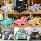 3PCS SOFT SATIN ICE SILK COMPLETE BEDDING SHEETS THREE SIZES  EIGHT PURE COLORS