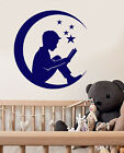 Vinyl Wall Decal Star Moon Boy With Fairy Tales Book Stickers (2257ig)