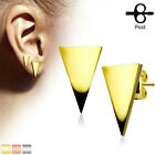 HOT PAIR OF SURGICAL STEEL POLISHED TRIANGLE POST STUD EARRINGS CHOOSE COLOR