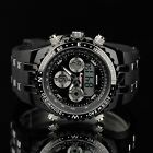 INFANTRY MENS DIGITAL QUARTZ CHRONOGRAPH WRIST WATCH SPORT MILITARY BLACK RUBBER